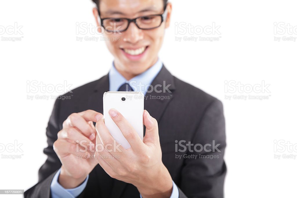 Asian Businessman Using Smart Phone royalty-free stock photo