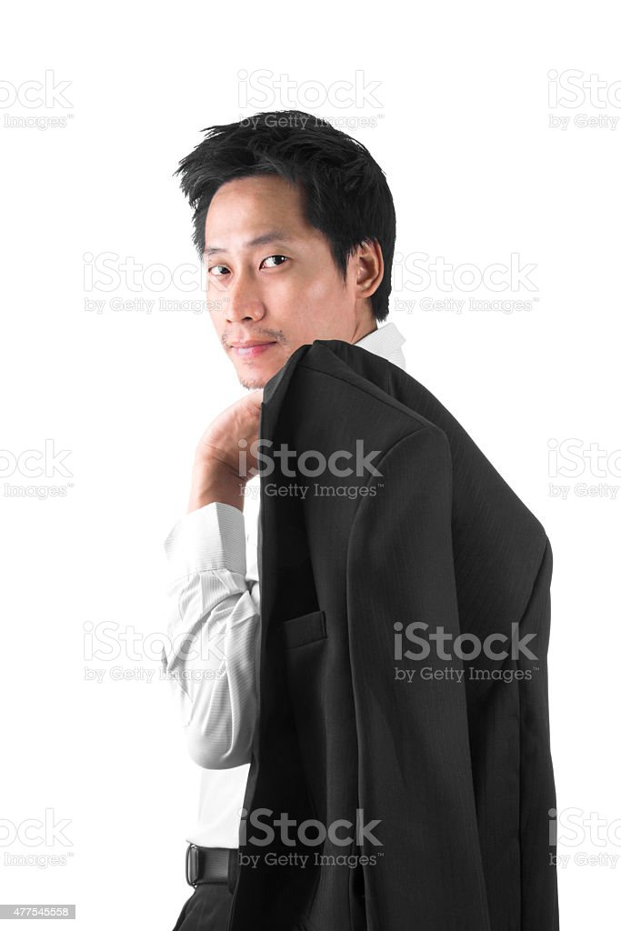 Asian Businessman With His Suit Over His Shoulder royalty-free stock photo