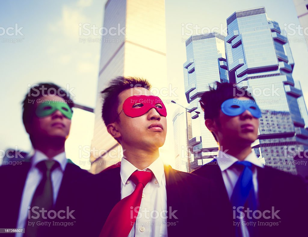 Asian Businessmen Superheroes royalty-free stock photo