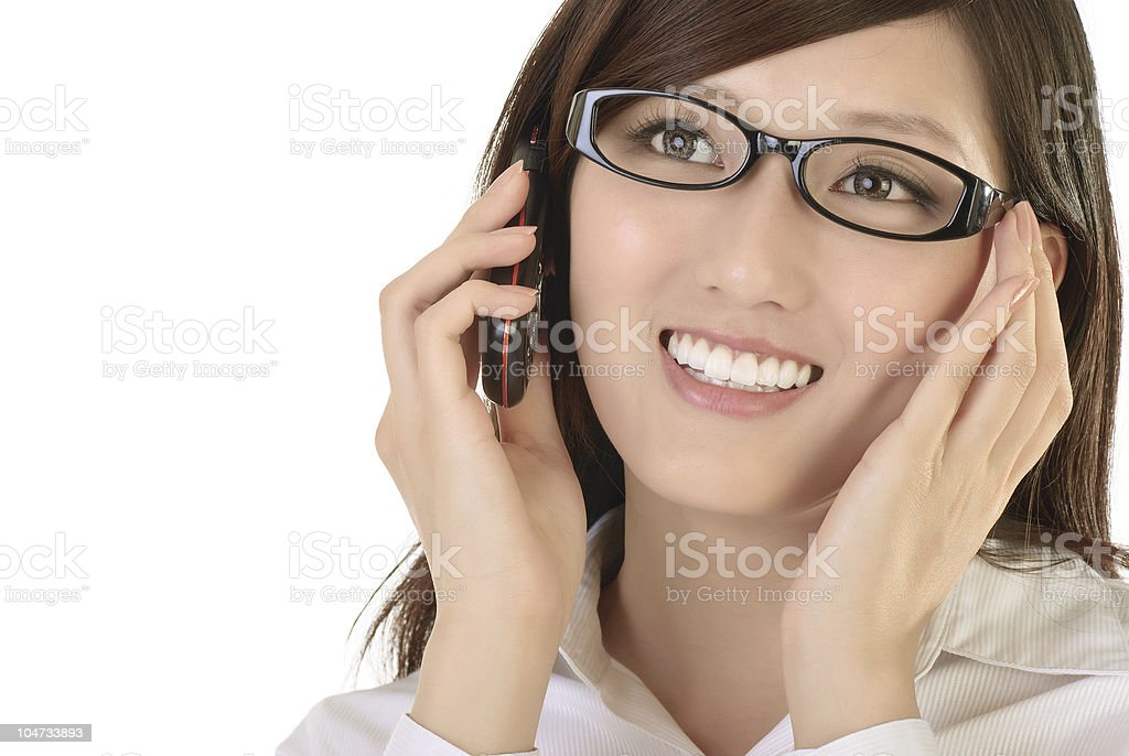 Asian businesswoman with cellphone royalty-free stock photo