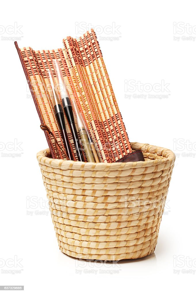 asian calligraphy brushes stock photo