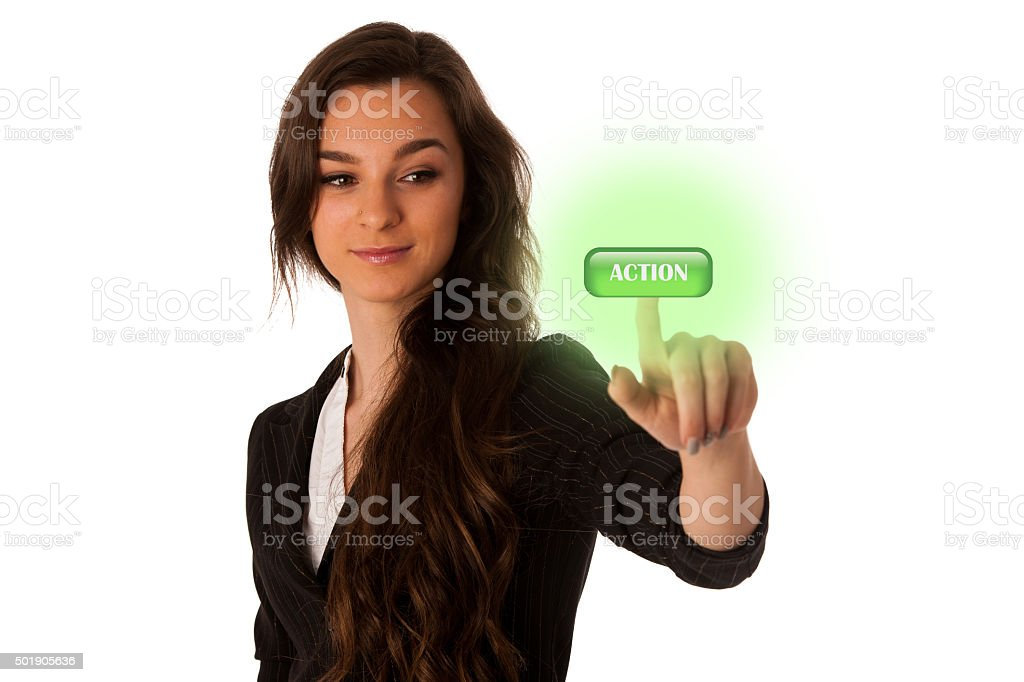 asian caucasian woman pressing a green button call to action stock photo