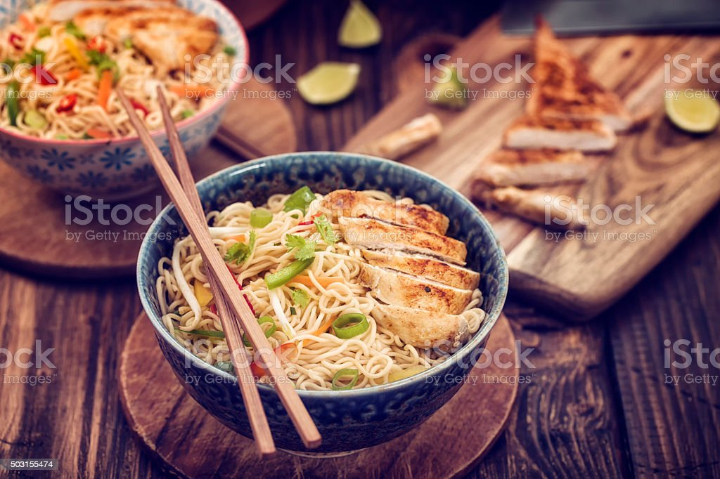 Asian Chicken Noodles Stir Fry stock photo