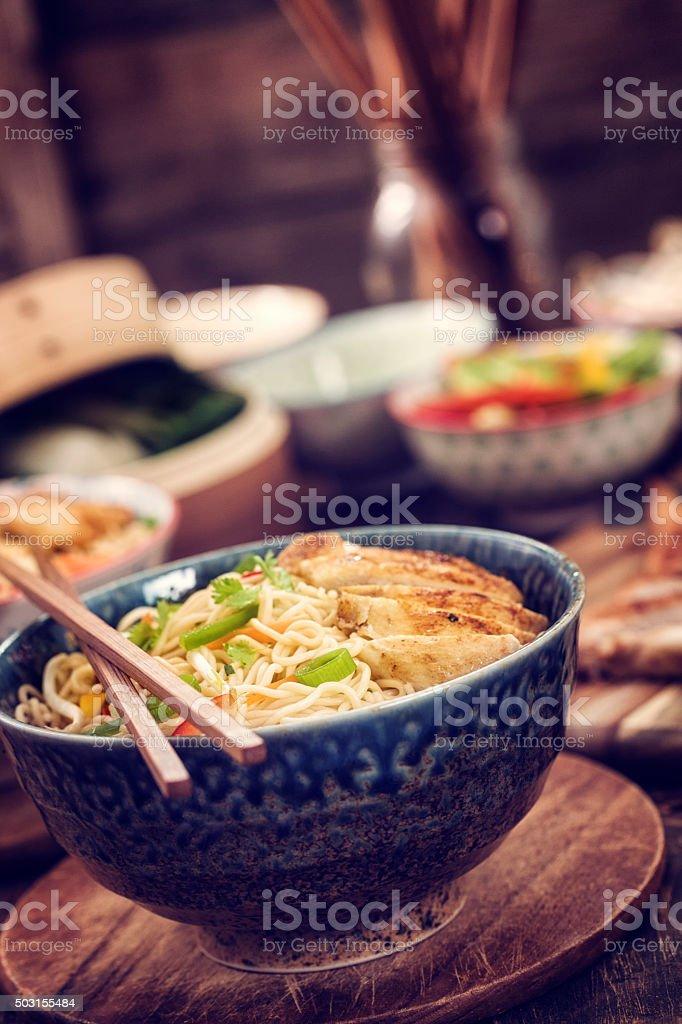 Asian Chicken Noodles Stir Fry stock photo