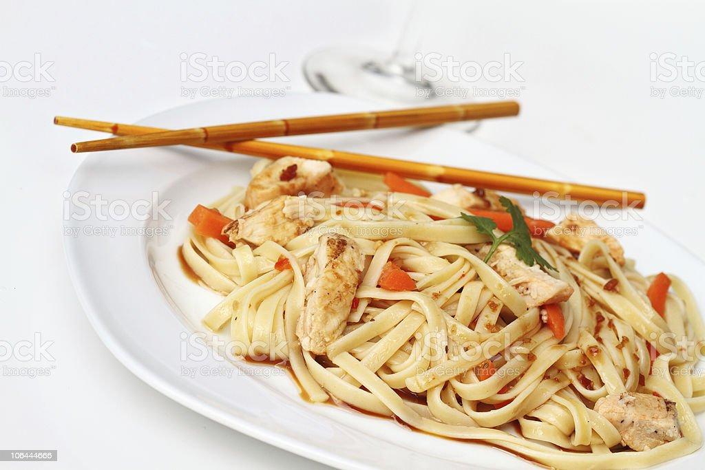 Asian Chicken Pasta royalty-free stock photo