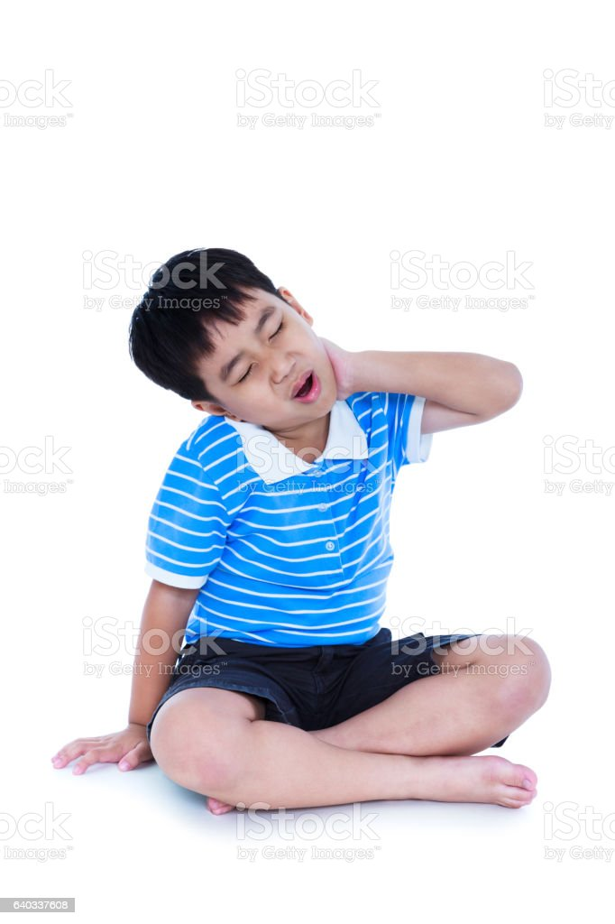 Asian child have a neck pain. Isolated on white background. stock photo