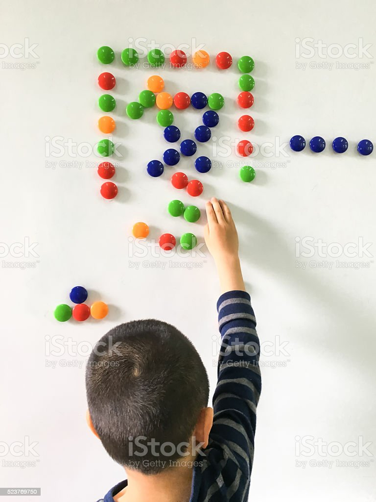 Asian Child Learning Words stock photo