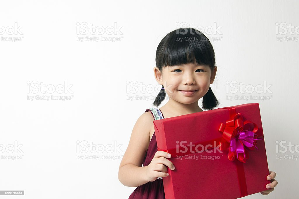 Asian child with red gift box stock photo