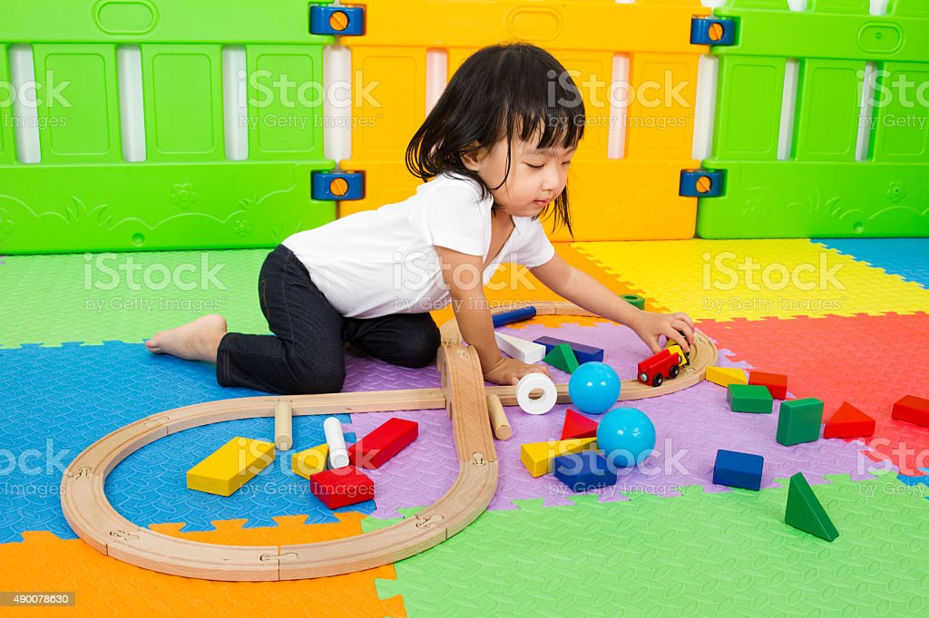 Asian Chinese children playing with blocks stock photo