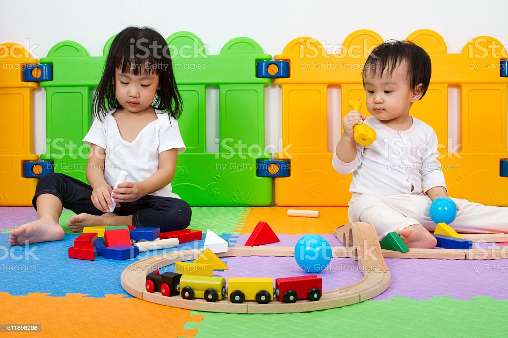Asian Chinese childrens playing with blocks stock photo