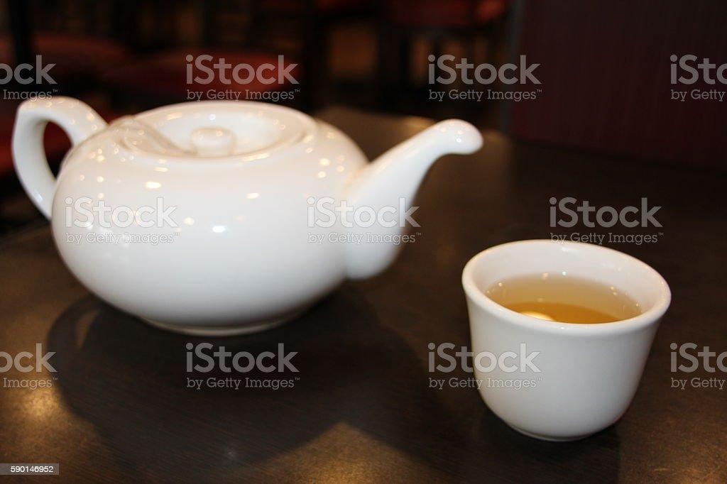 Asian Chinese Green Tea pot Yum Cha foto de stock libre de derechos