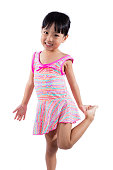 Asian Chinese little girl portrait in swimsuit