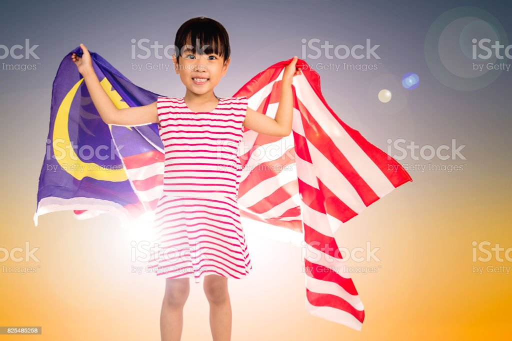Asian Chinese little girl with Malaysian Flag stock photo