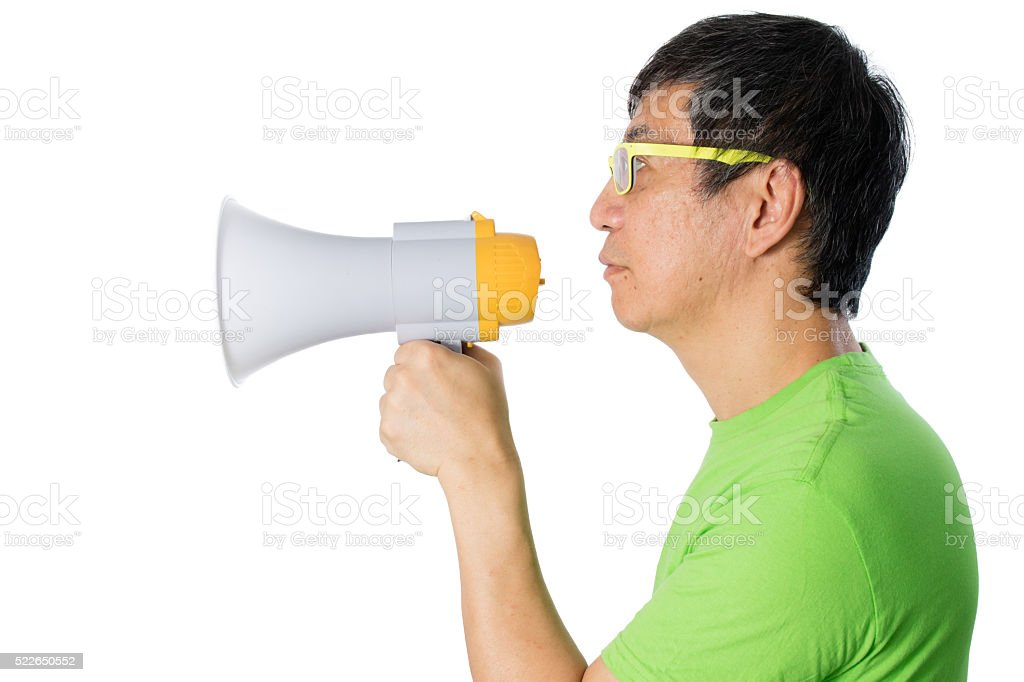 Asian Chinese Man Holding a Megaphone stock photo