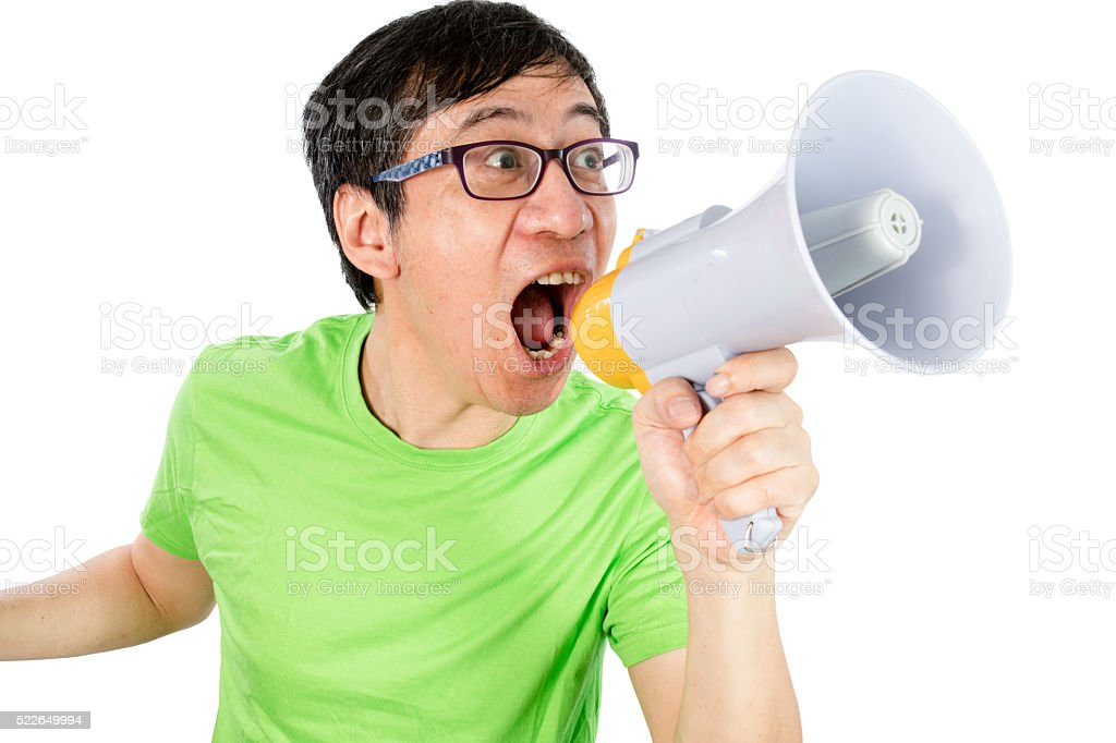 Asian Chinese Man Shouting with a Megaphone stock photo
