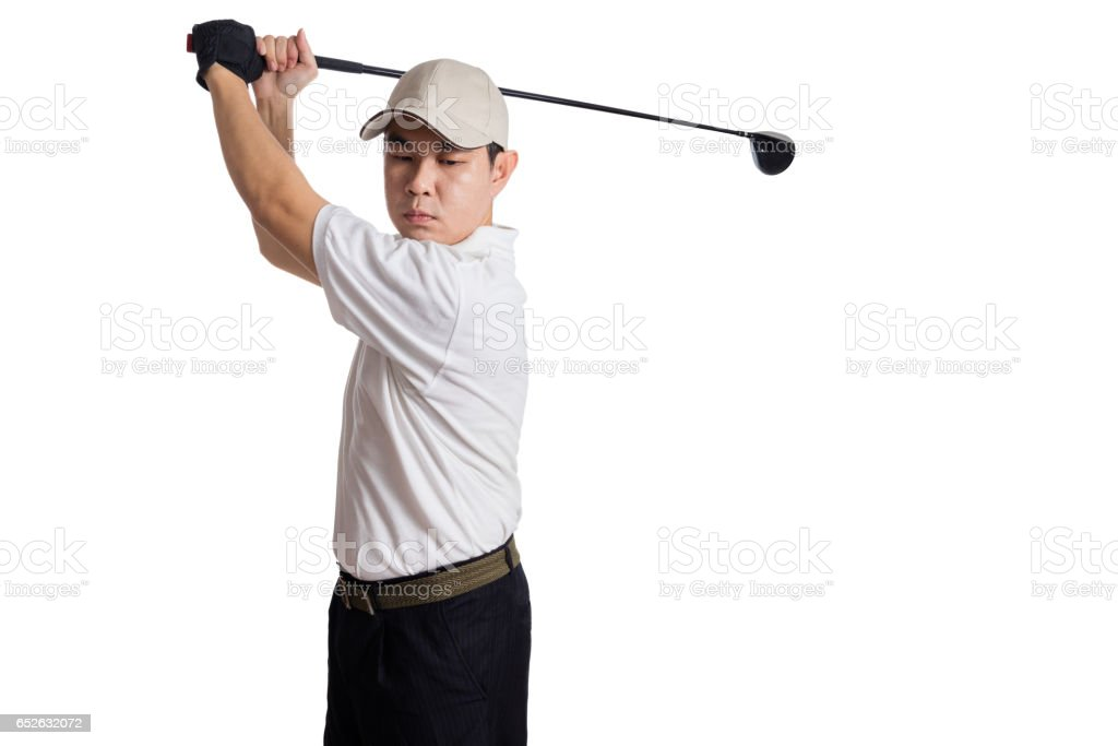 Asian Chinese Man Swinging Golf Club for the shot stock photo
