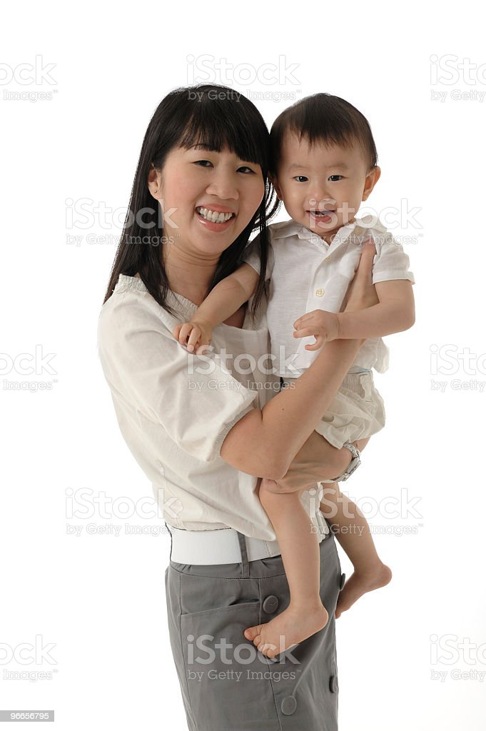 Asian Chinese mother and baby boy royalty-free stock photo