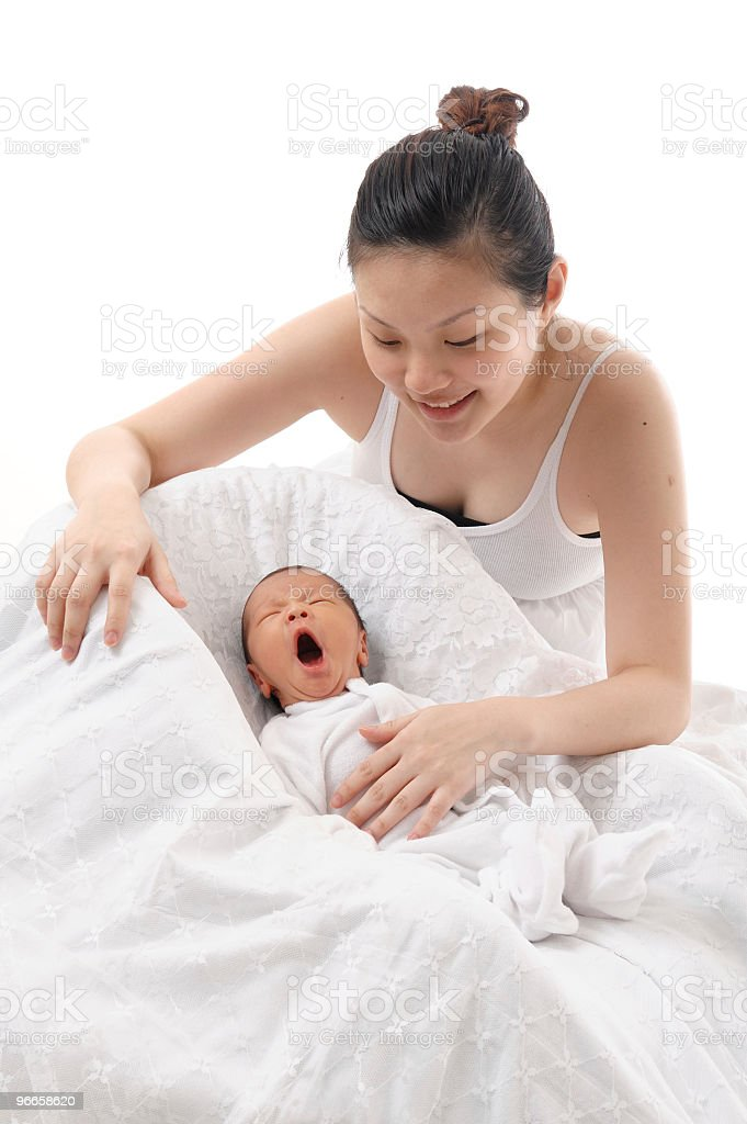 Asian Chinese mother with newborn baby stock photo