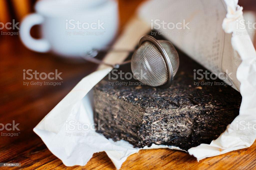 Asian Chinese pressed pu-erh tea stock photo