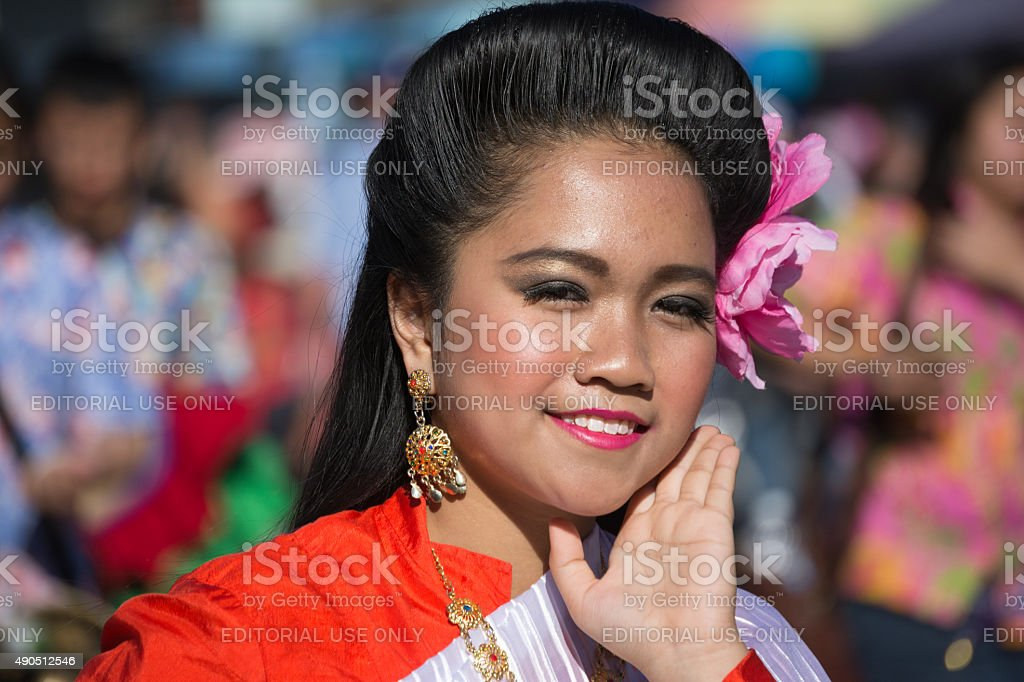 Asian Chinese woman during the Golden Dragon Parade stock photo