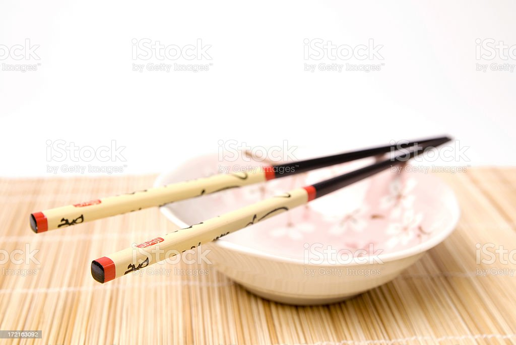Asian Chopsticks With Bamboo Background royalty-free stock photo