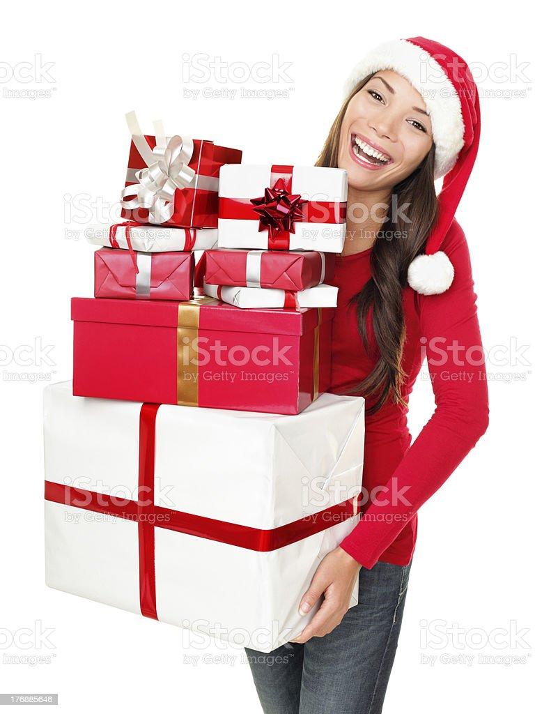 Asian christmas santa woman shopping gifts royalty-free stock photo