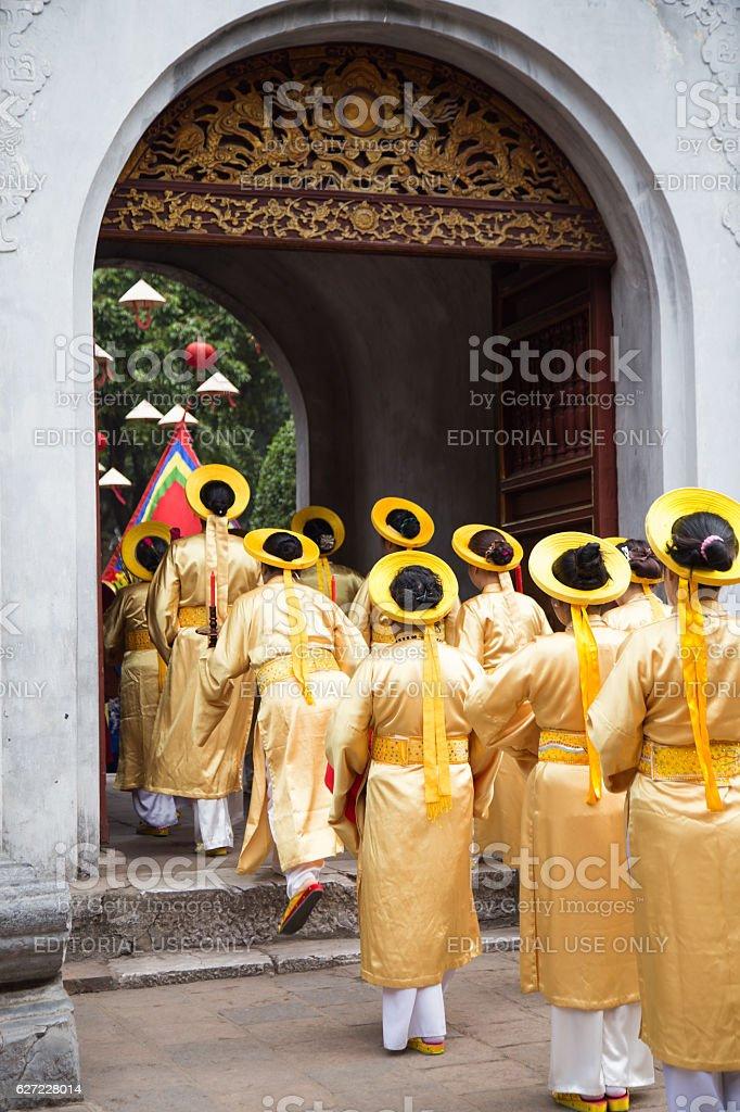 Asian civilian artists performing spiritual activities stock photo