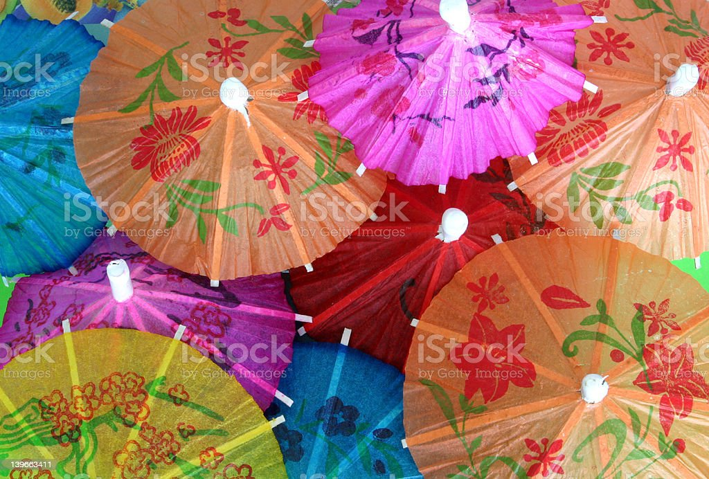 Asian cocktail umbrellas #3 royalty-free stock photo