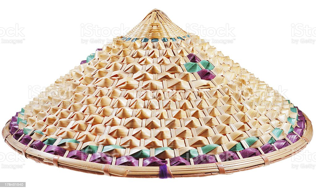 asian conical straw hat stock photo