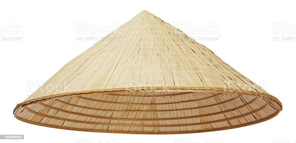 A Asian conical straw pyramid hat stock photo