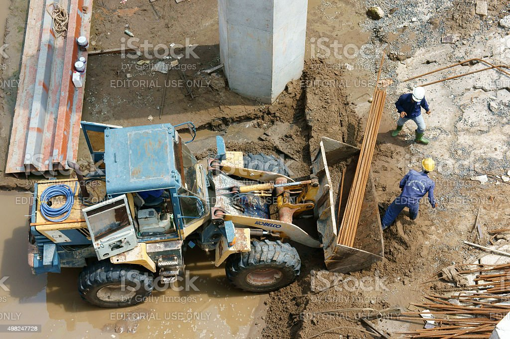 Asian, construction site, dredge, river bed, rigation system stock photo