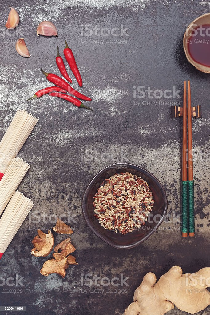 Asian cooking ingredients stock photo
