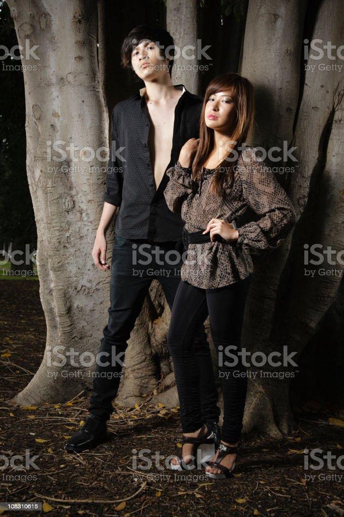 Asian Couple at Twilight stock photo