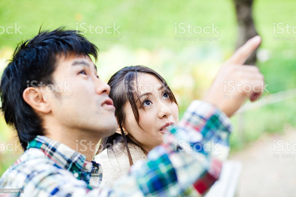 Asian Couple Outdoor Talking stock photo