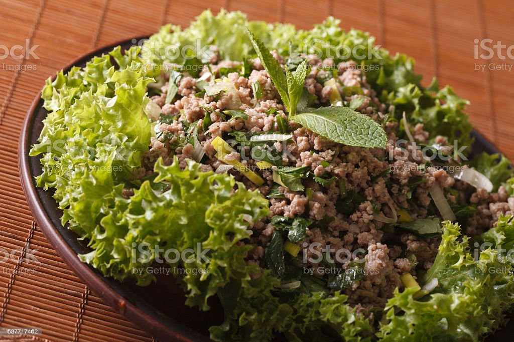 Asian cuisine: salad of minced meat with herbs close-up stock photo