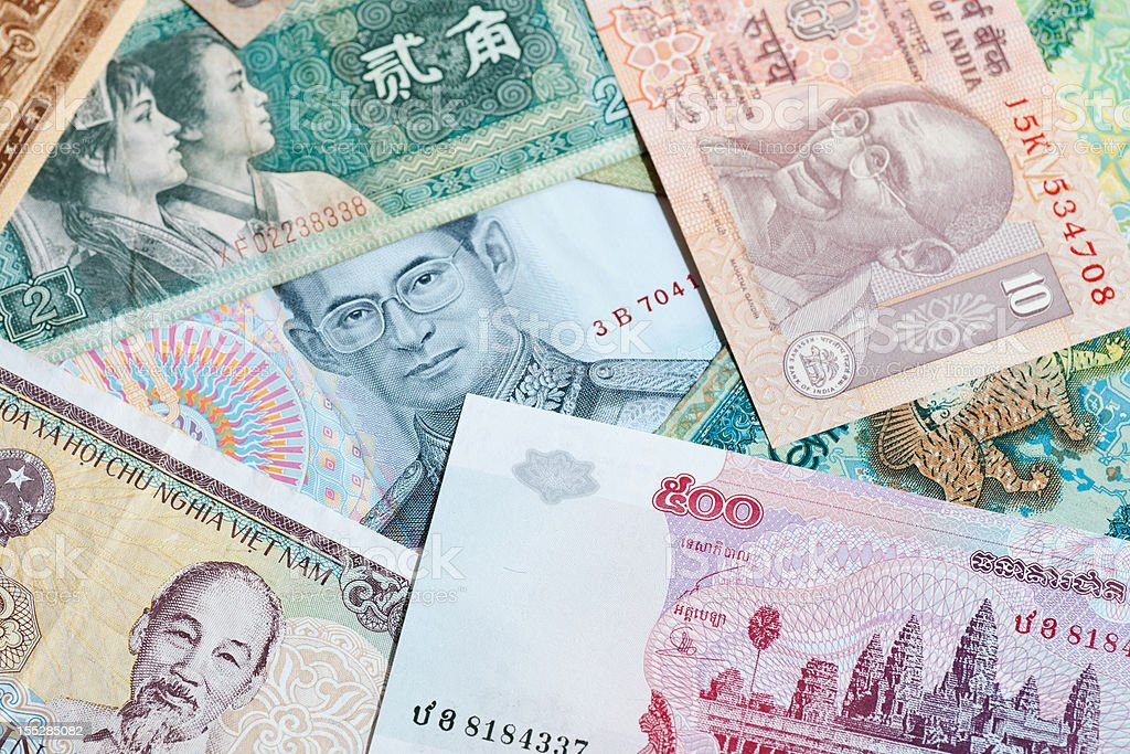 asian currencies stock photo