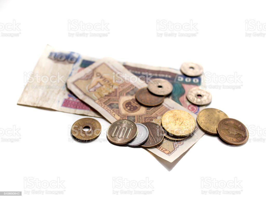Asian currency bank notes and coins stock photo