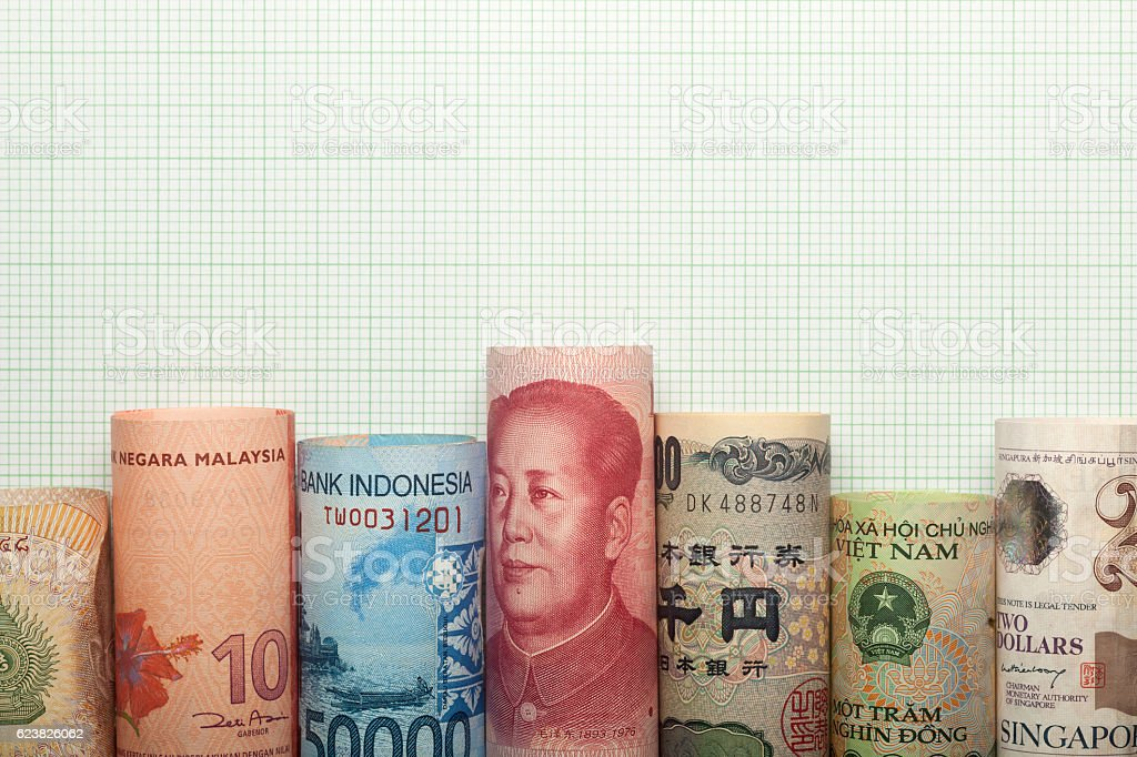 Asian currency graph stock photo