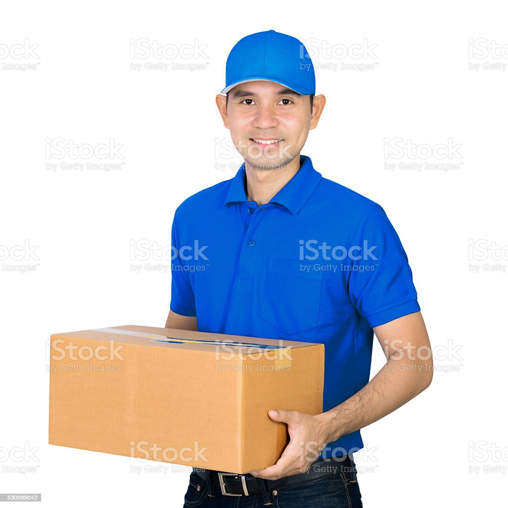 Asian deliveryman carrying a cardboard parcel box stock photo