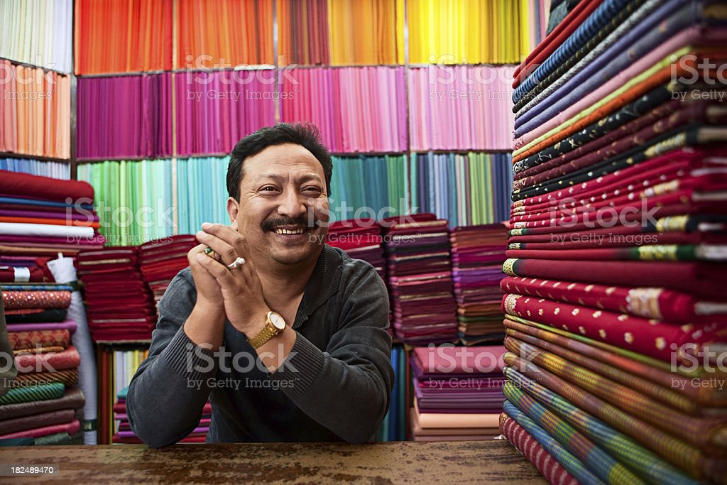 Asian fabric shop stock photo