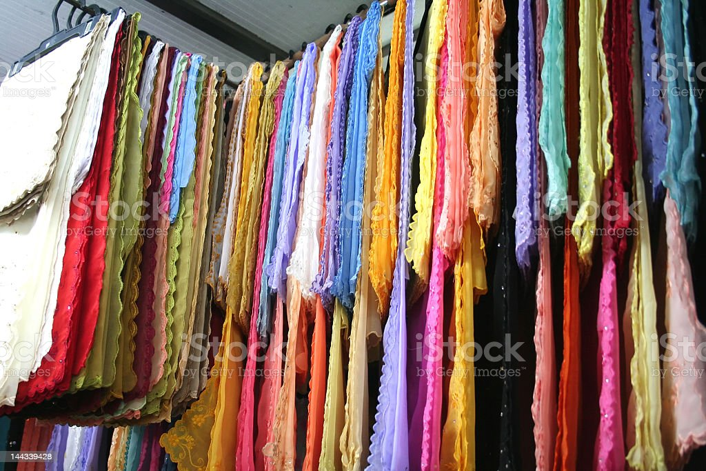 Asian fabrics stock photo