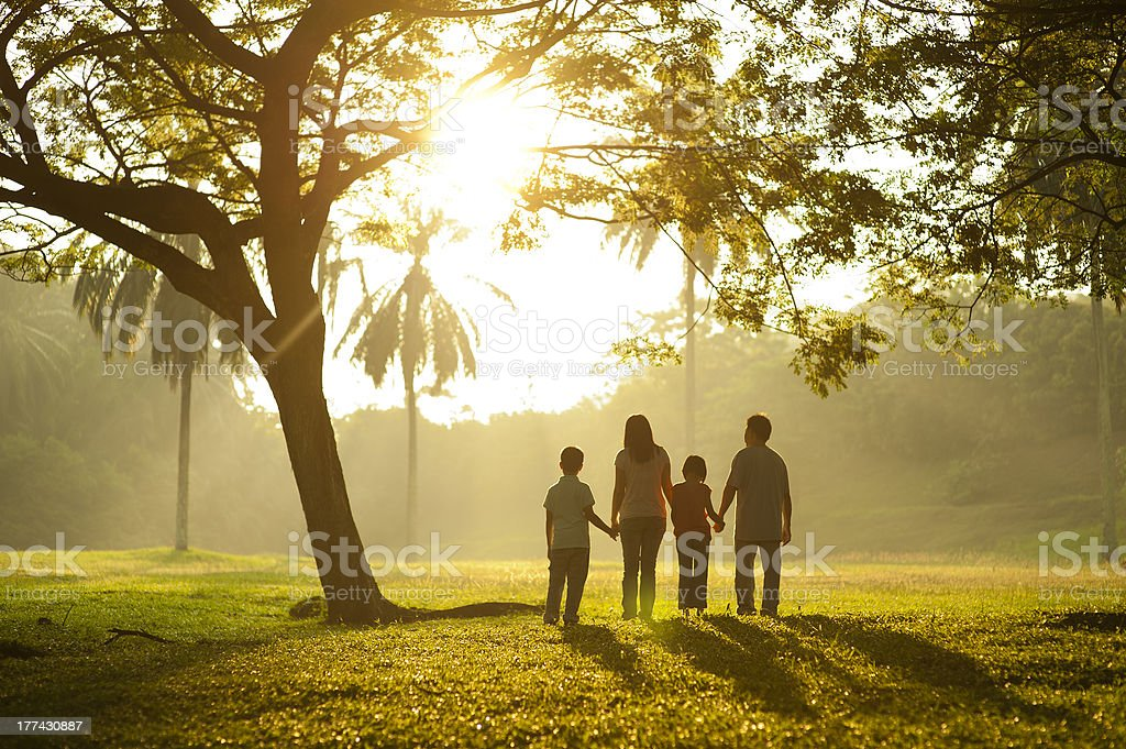 Asian family holding hands stock photo
