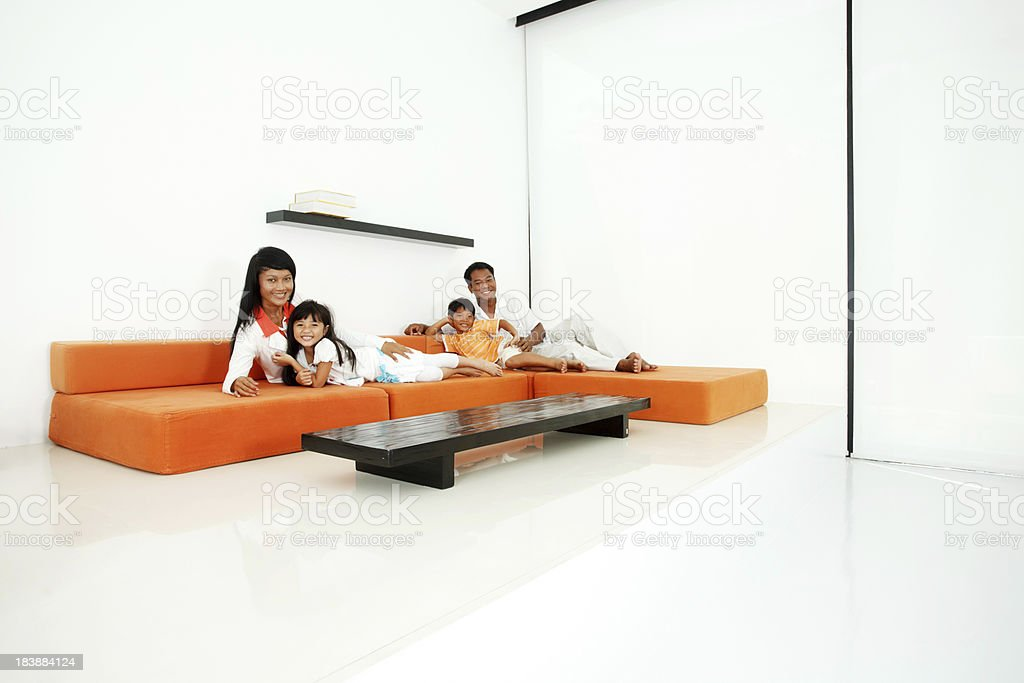 Asian family together at home royalty-free stock photo