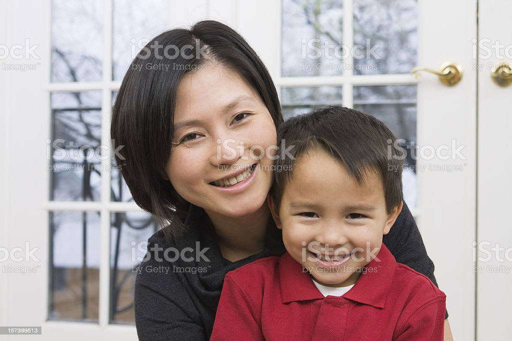 Asian Family with Mother and Son, Parent and Child Together royalty-free stock photo