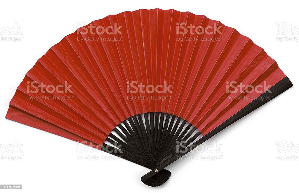 Asian Fan with Black Wood and Red Isolated on White stock photo