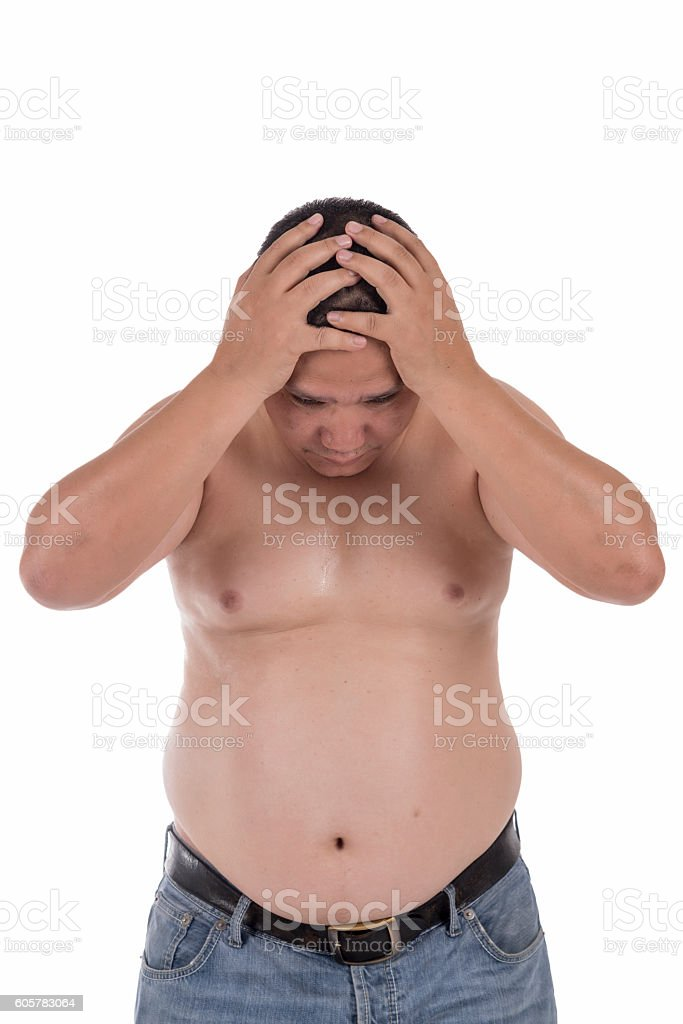 asian fat man isolated on white background stock photo