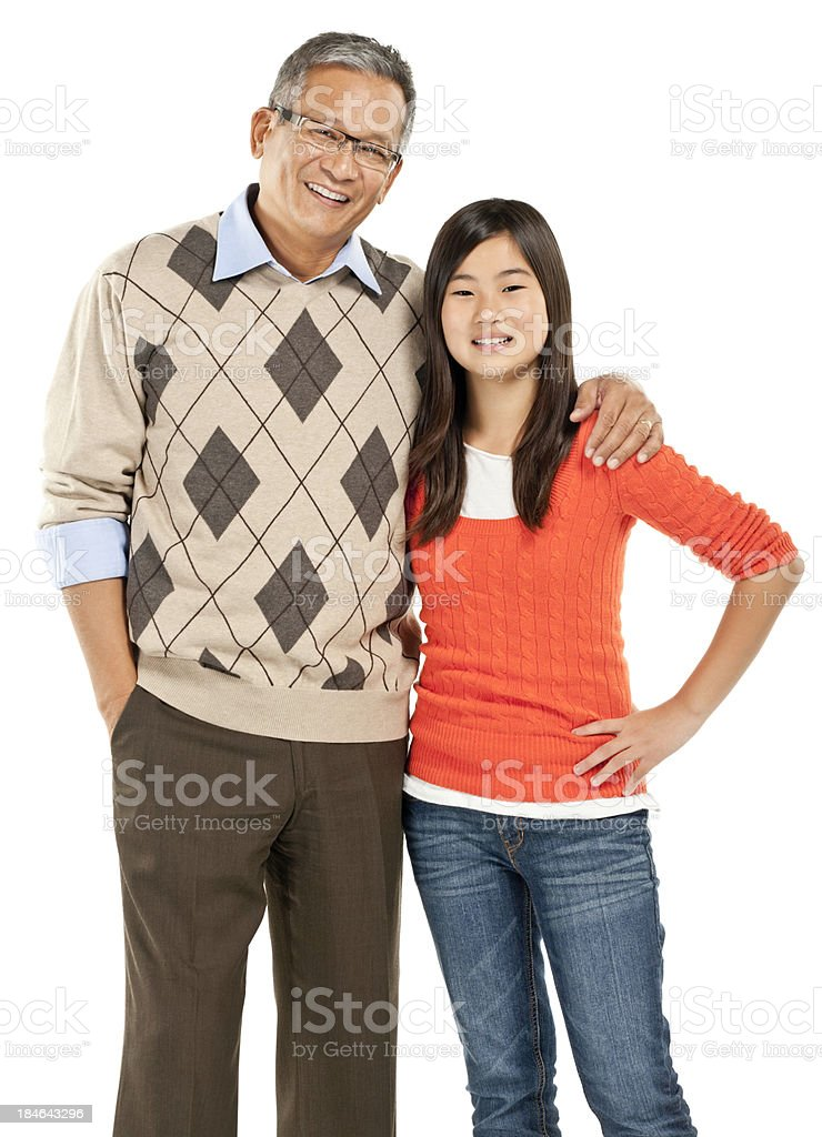 Asian Father and Daughter Portrait - Isolated royalty-free stock photo