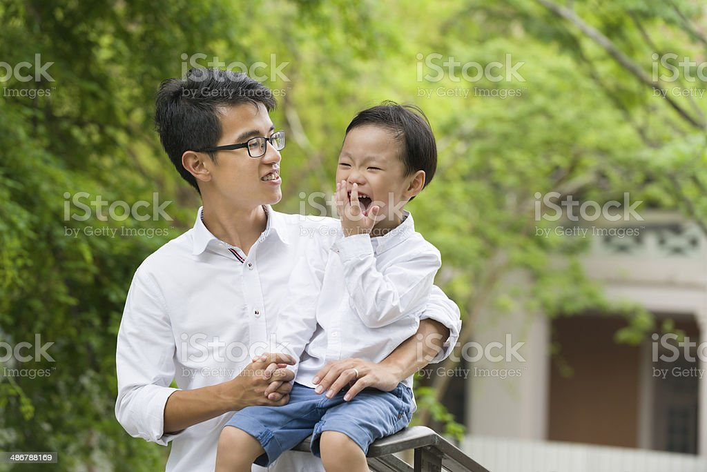 Asian Father and Son royalty-free stock photo