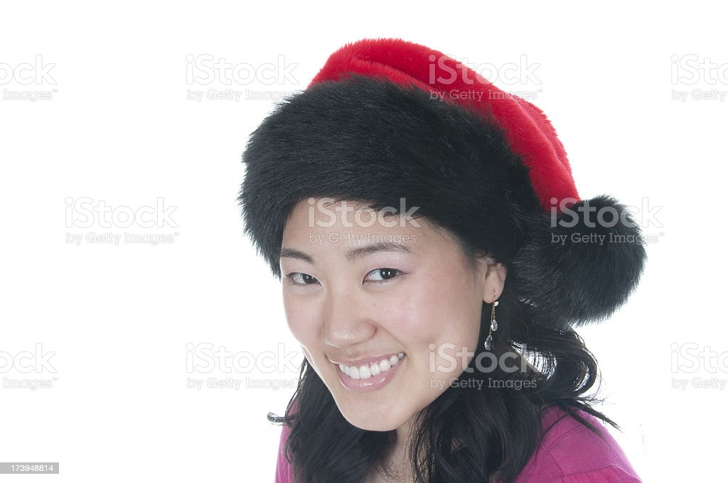 Asian Female in Christmas Hat stock photo