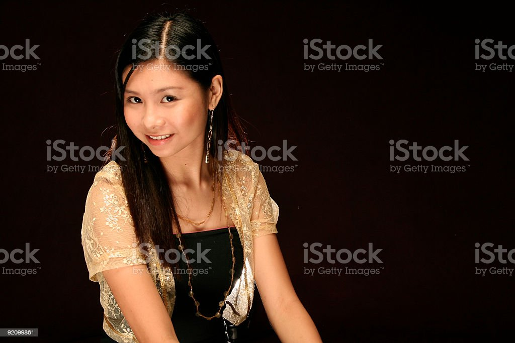 asian female model against a dark background royalty-free stock photo